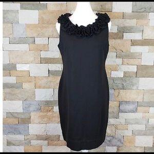 Just Taylor Sheath Black Dress Flower Ruffle